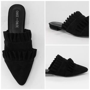 NEW Black Suede Slip-On Mule Double Ruffles